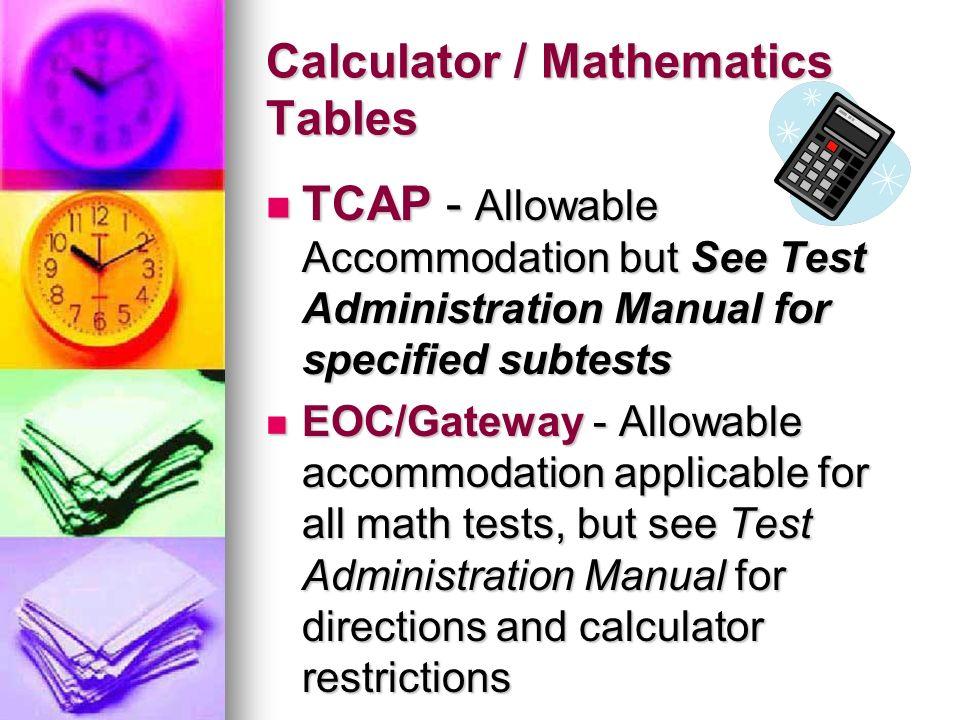 Calculator / Mathematics Tables