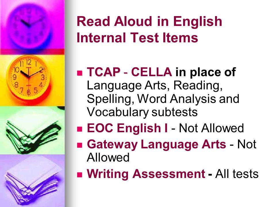 Read Aloud in English Internal Test Items