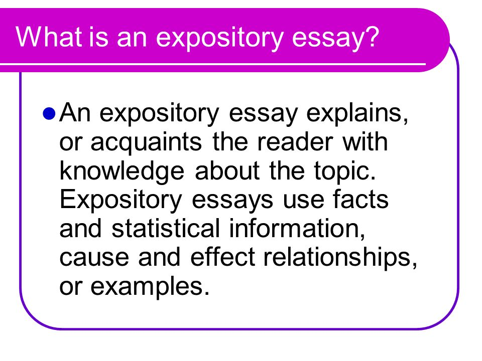 What is an expository essay