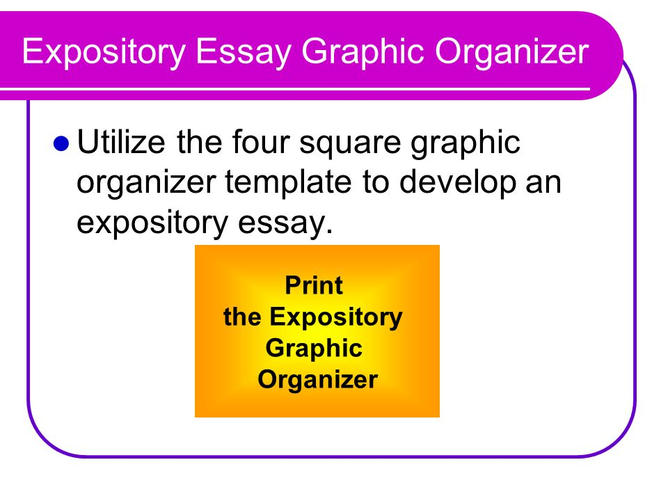 expository essay graphic prompts The purpose of an expository essay is to communicate ideas and information to  4create a graphic organizer of the components and characteristics of a multi-  writing a class essay prompt:write an essay analyzing the cause (or causes) and the effect (effects) of a timely situation that is relevant to your school be sure the essay meets the.