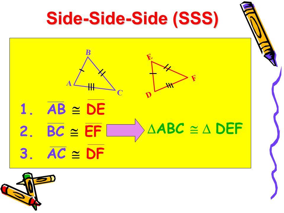 Side-Side-Side (SSS) AB  DE BC  EF AC  DF ABC   DEF B A C E D F