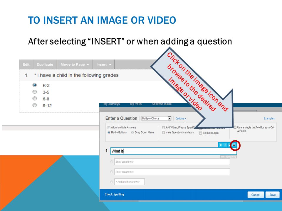 To insert an image or video
