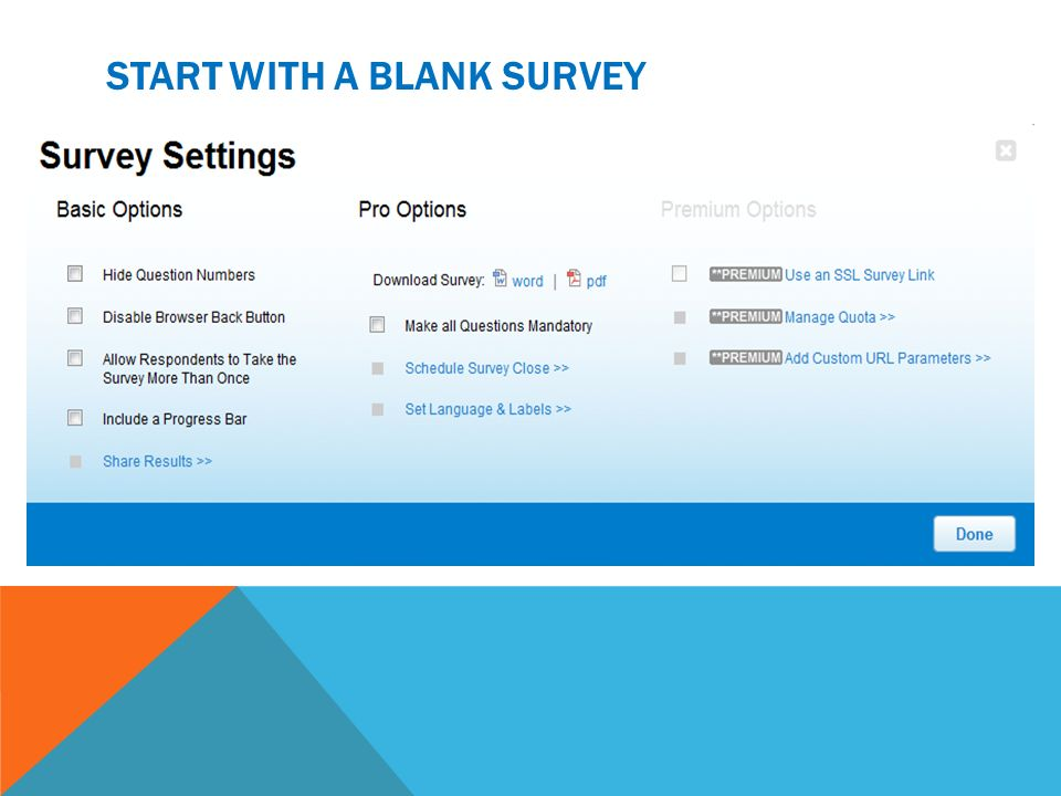 Start with a blank survey