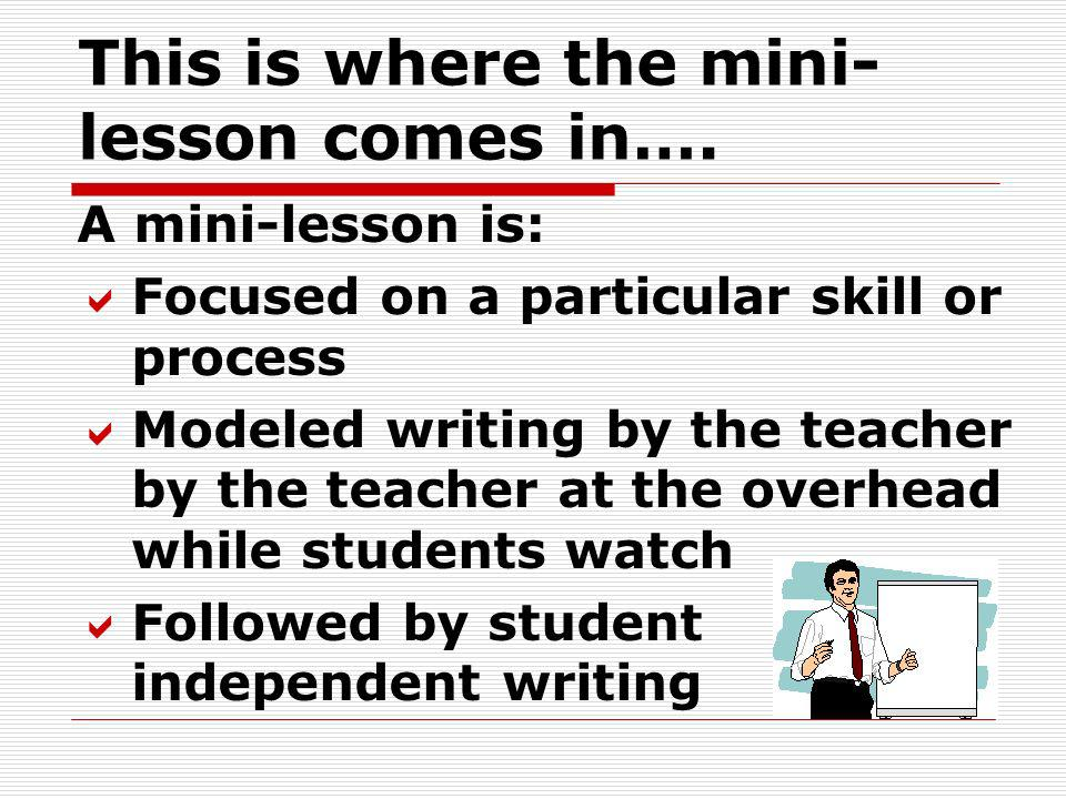 This is where the mini-lesson comes in….