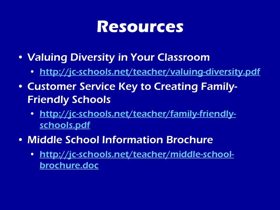 Resources Valuing Diversity in Your Classroom