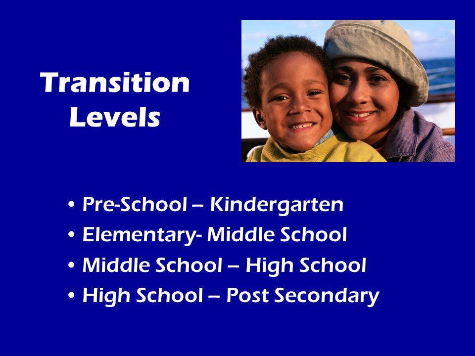Transition Levels Pre-School – Kindergarten Elementary- Middle School