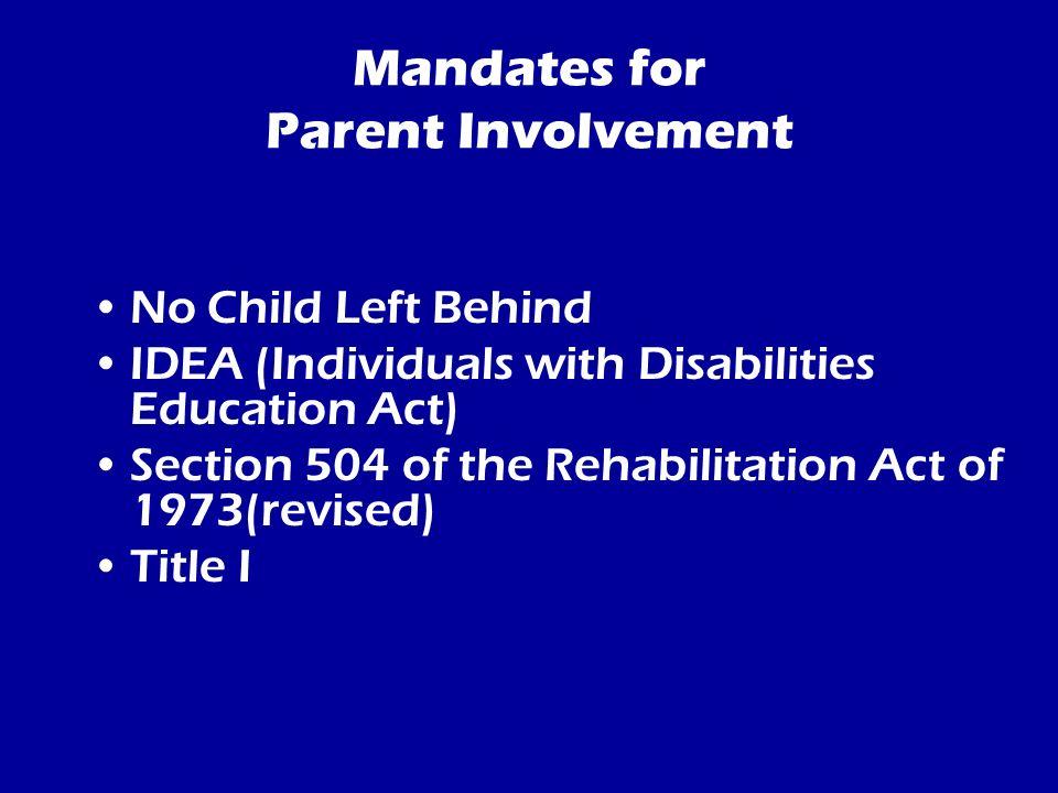 Mandates for Parent Involvement