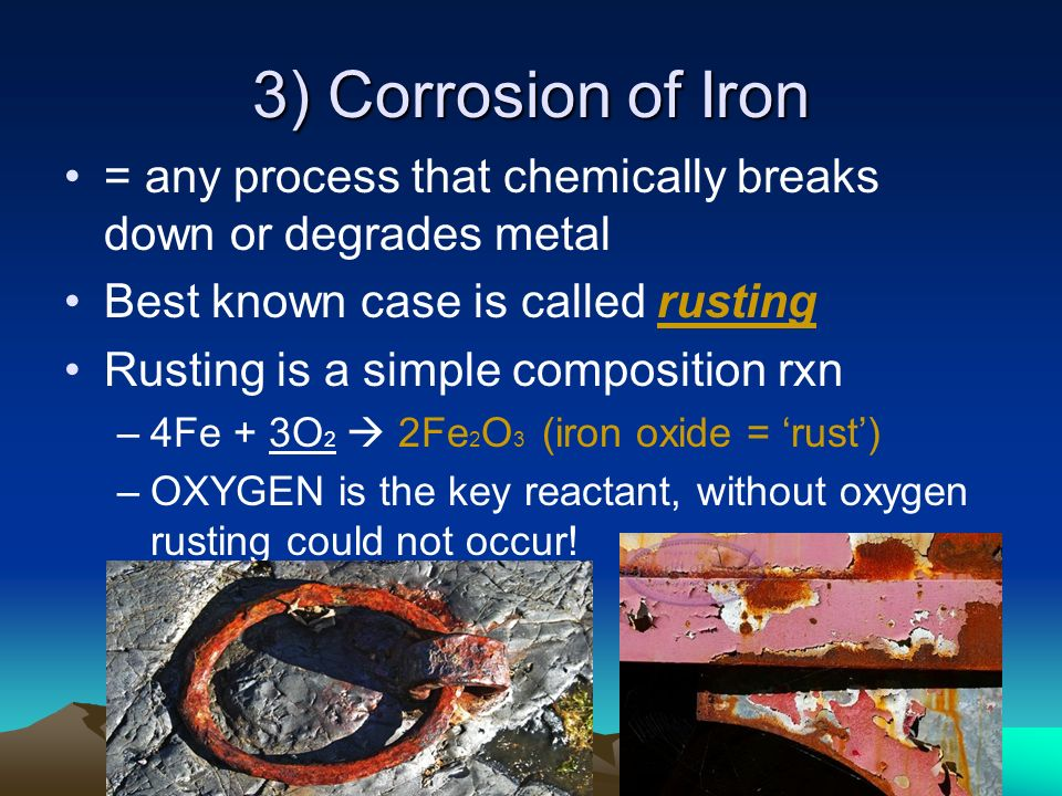 corrison of iron Corrosion of iron the corrosion of iron is an oxidation reduction reaction that is characterized by the losing and gaining of electrons in this lab you will observe the different circumstances in which iron will corrode when in contact with other metals and when it is alone, with the use of special indicators.