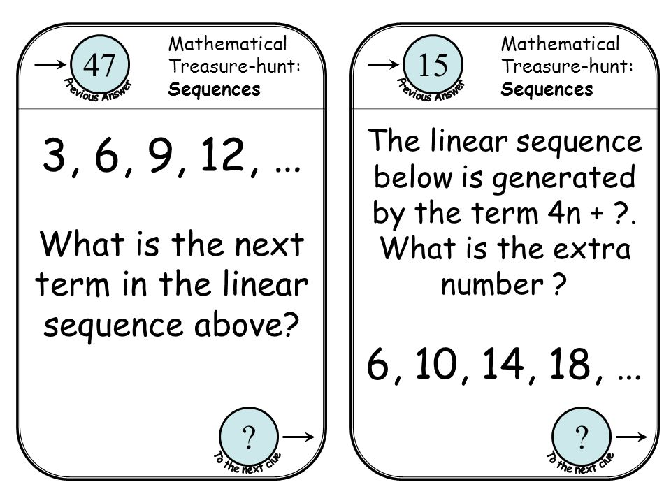 What is the next term in the linear sequence above