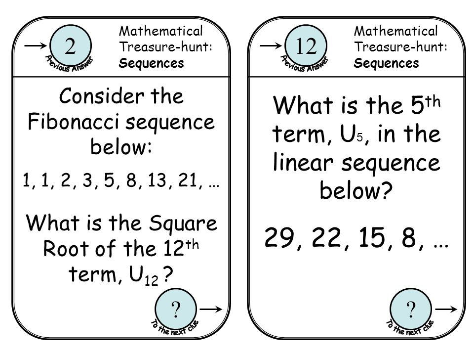 Mathematical Treasure-hunt: Sequences