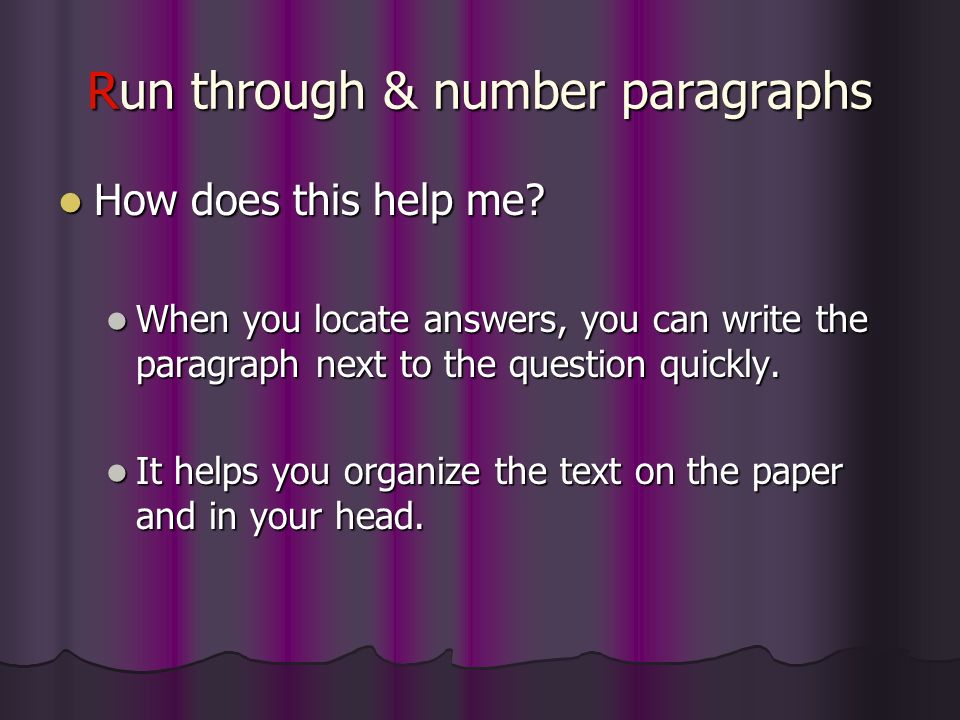 Run through & number paragraphs
