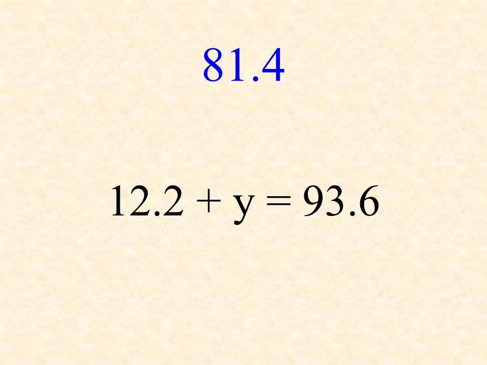 81.4 12.2 + y = 93.6