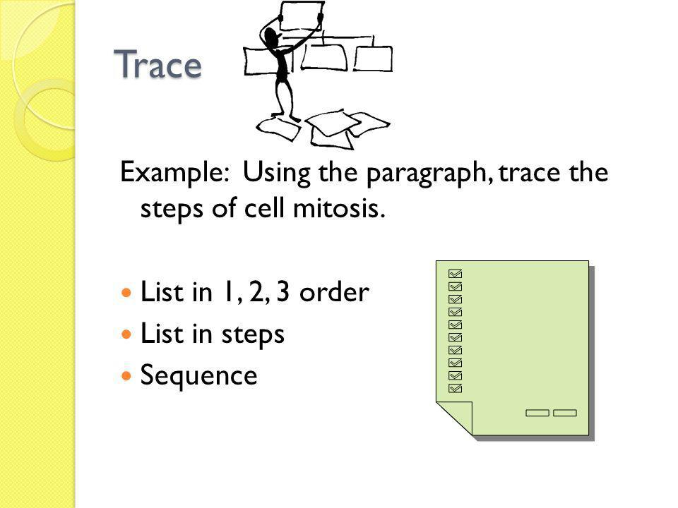 Trace Example: Using the paragraph, trace the steps of cell mitosis.