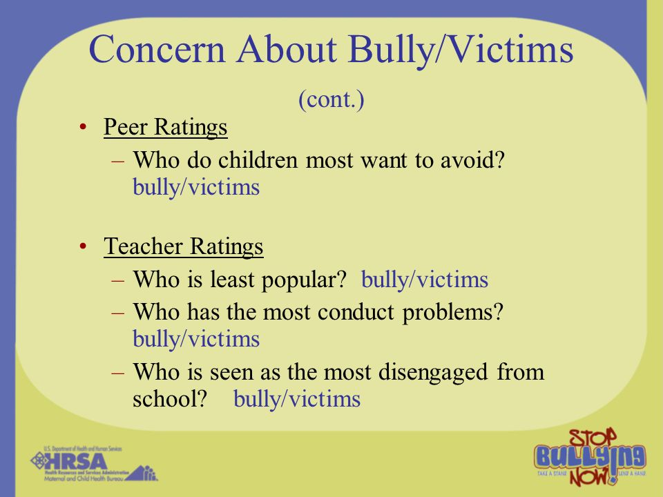 Concern About Bully/Victims (cont.)