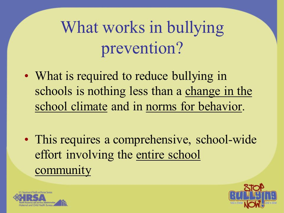 What works in bullying prevention