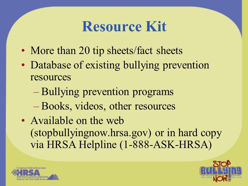 Resource Kit More than 20 tip sheets/fact sheets