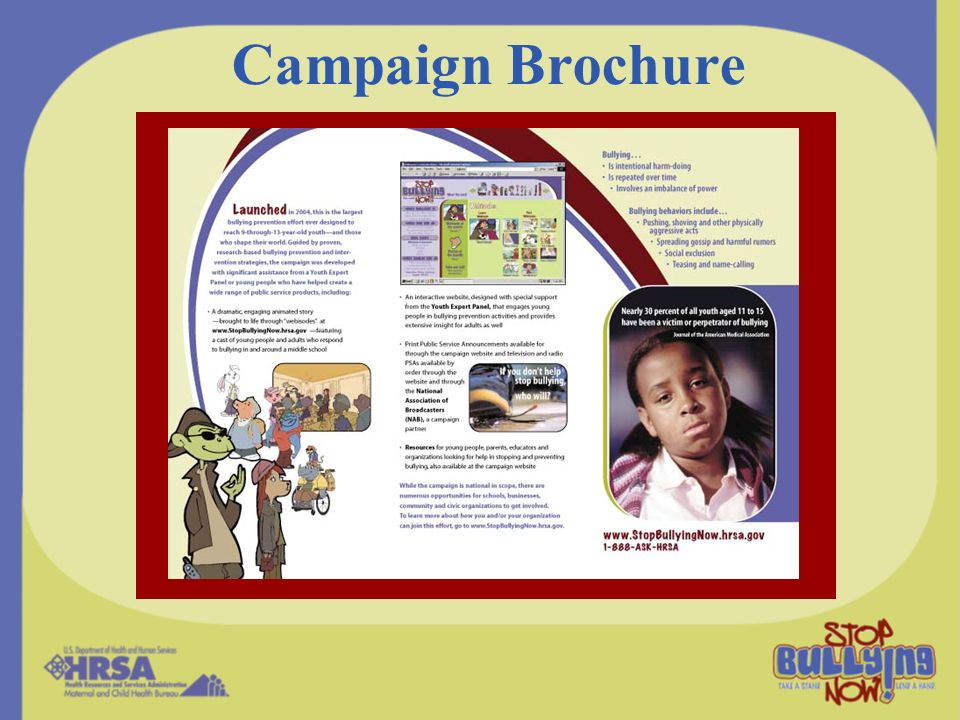Campaign Brochure The Communications Kit also includes a camera-ready brochure about the Campaign and the problem of bullying.