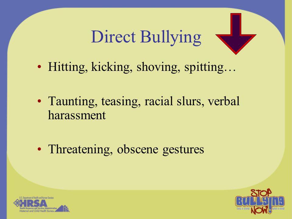 Direct Bullying Hitting, kicking, shoving, spitting…