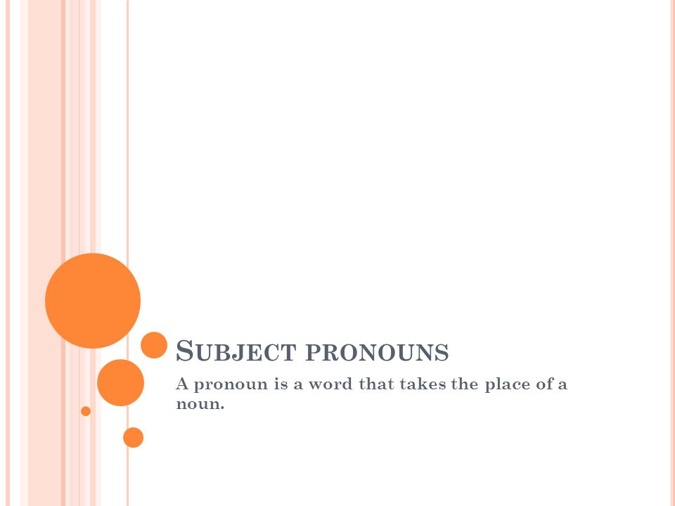 A pronoun is a word that takes the place of a noun.