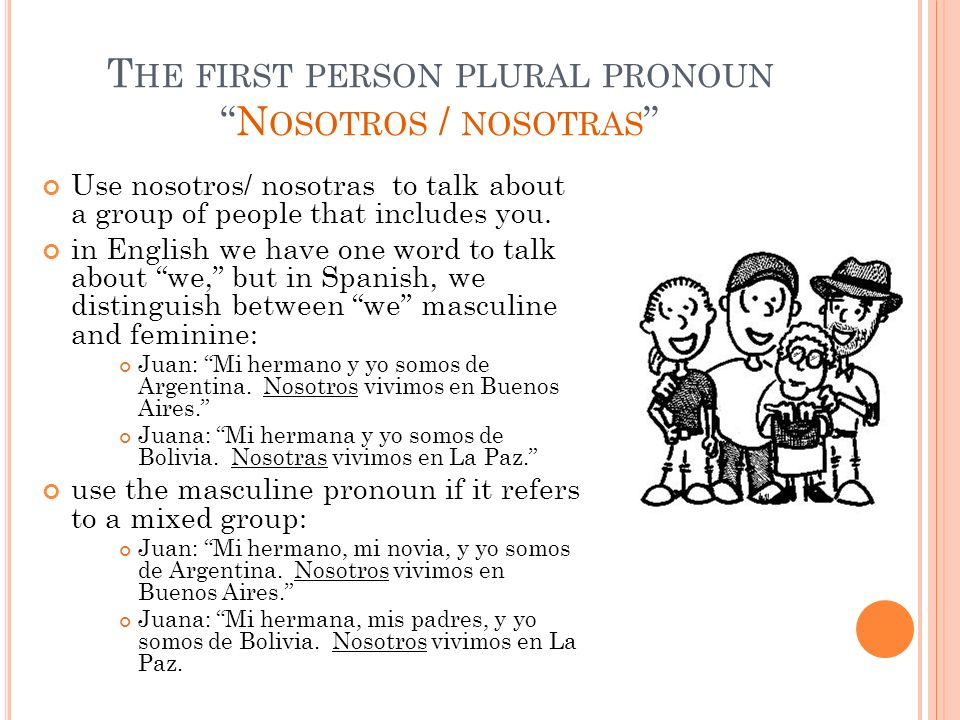 The first person plural pronoun Nosotros / nosotras