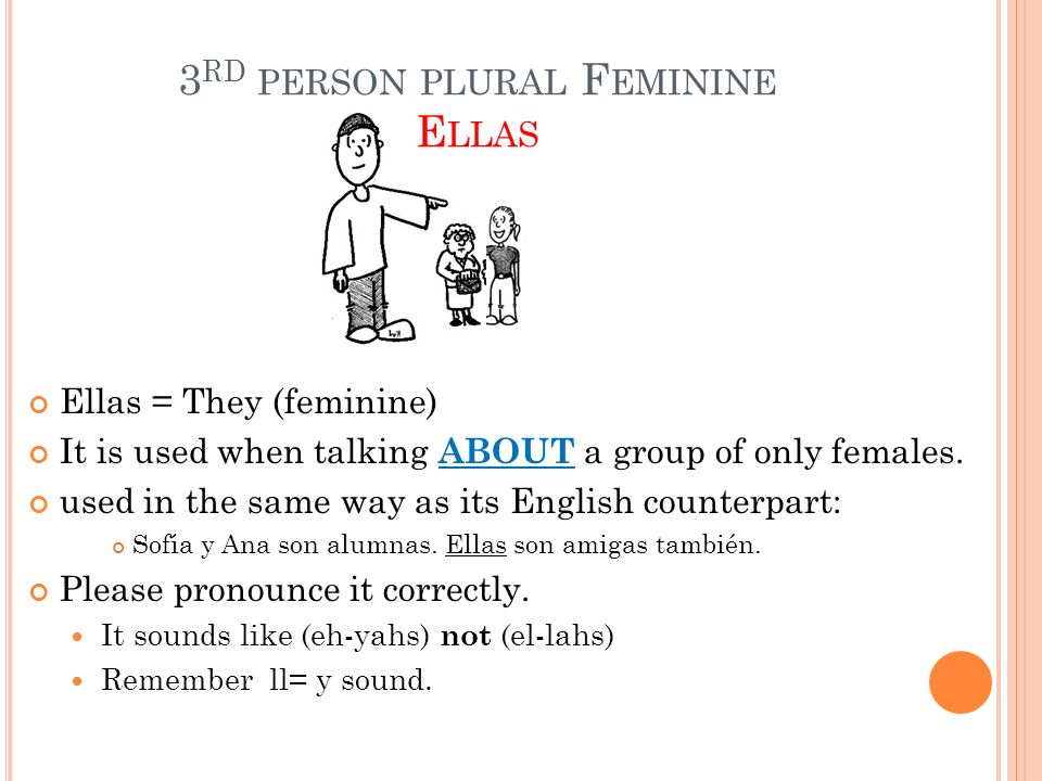 3rd person plural Feminine Ellas