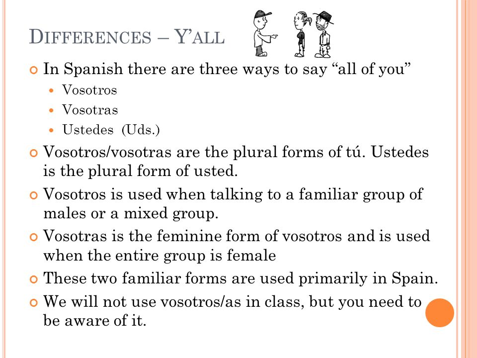 Differences – Y'all In Spanish there are three ways to say all of you Vosotros. Vosotras. Ustedes (Uds.)