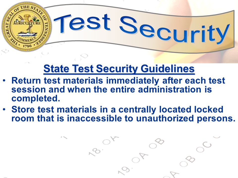 State Test Security Guidelines