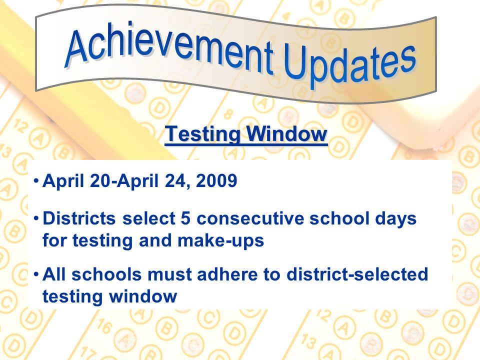 Achievement Updates Testing Window April 20-April 24, 2009