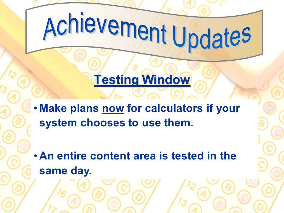 Achievement Updates Testing Window