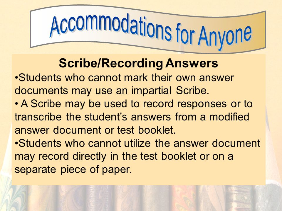 Scribe/Recording Answers