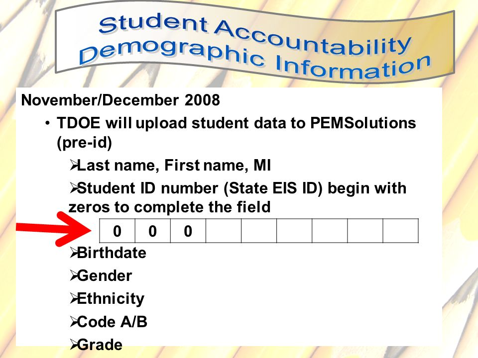 TDOE will upload student data to PEMSolutions (pre-id)