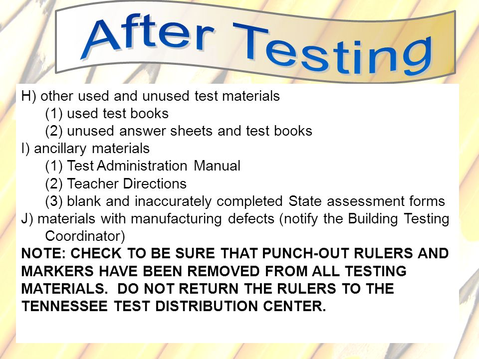 H) other used and unused test materials (1) used test books