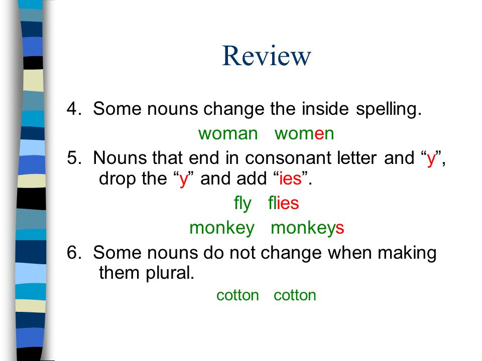 Review 4. Some nouns change the inside spelling. woman women