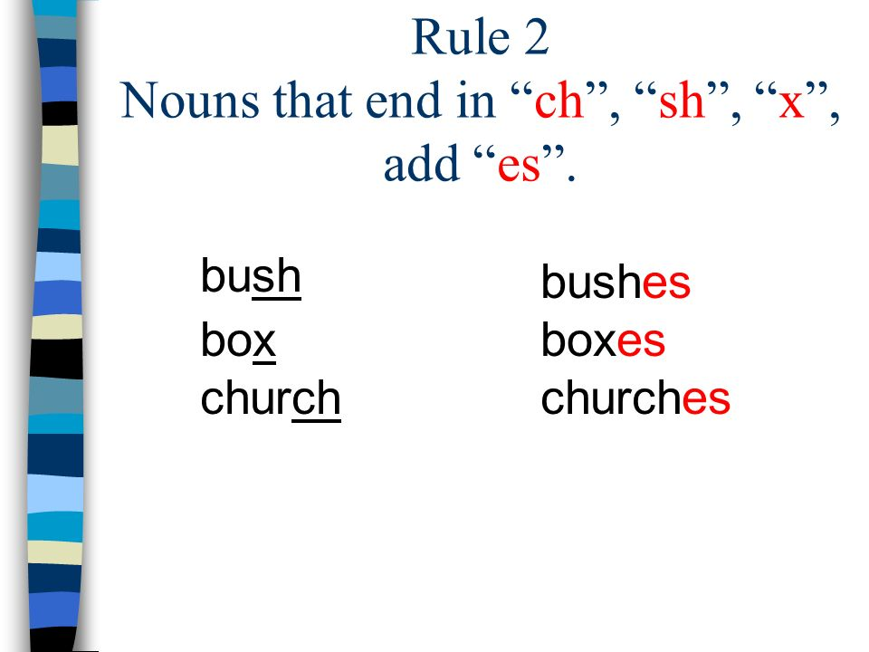 Rule 2 Nouns that end in ch , sh , x , add es .