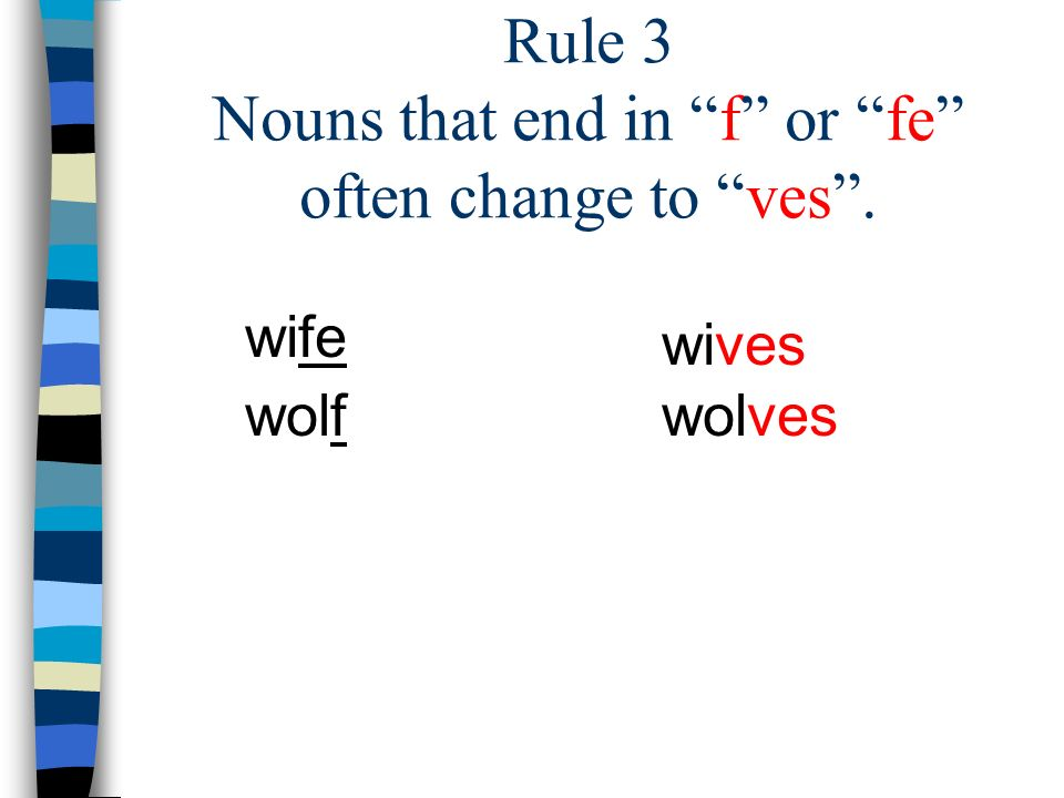 Rule 3 Nouns that end in f or fe often change to ves .
