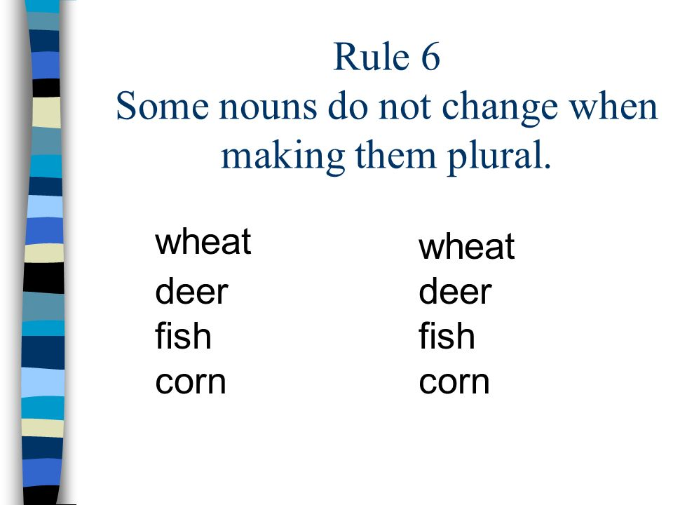 Rule 6 Some nouns do not change when making them plural.