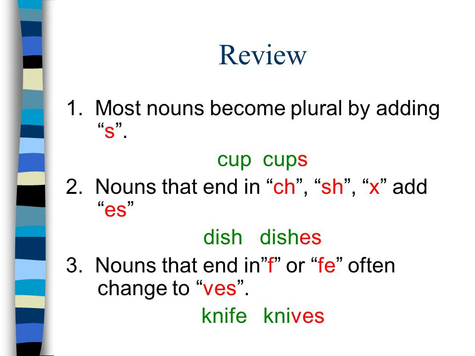 Review 1. Most nouns become plural by adding s . cup cups