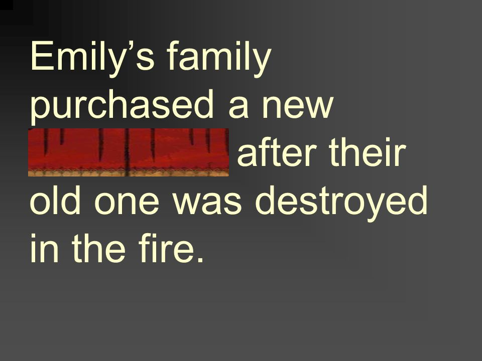 Emily's family purchased a new refrigerator after their old one was destroyed in the fire.