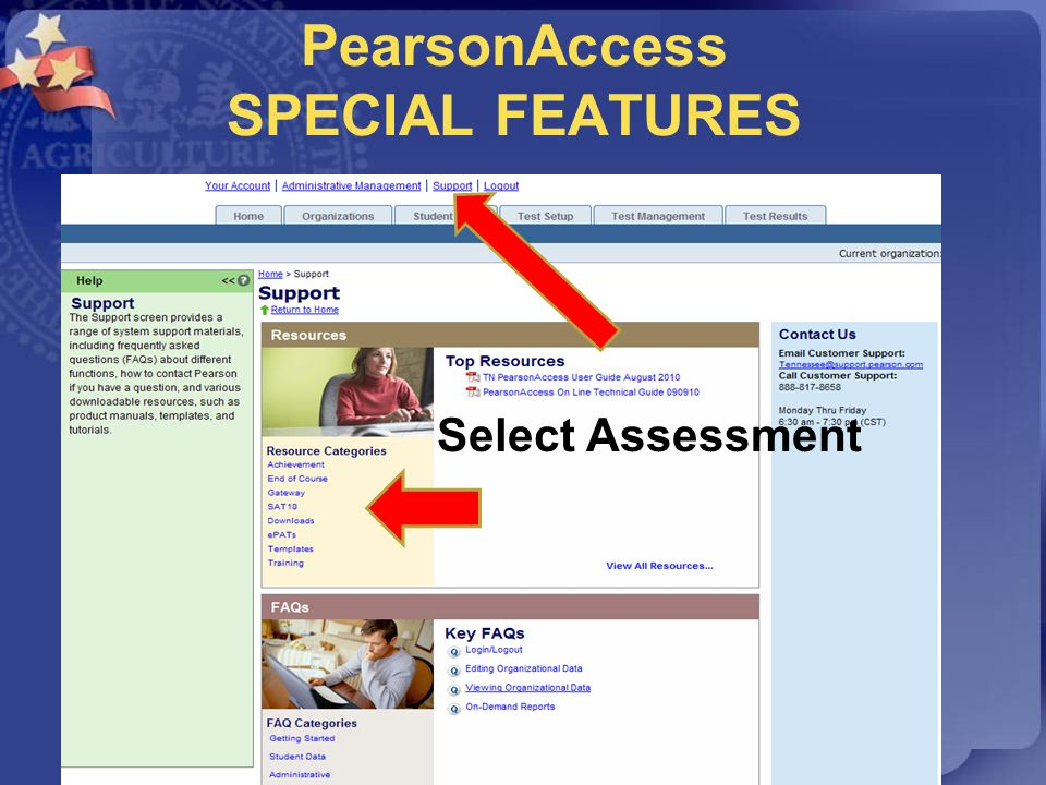 PearsonAccess SPECIAL FEATURES