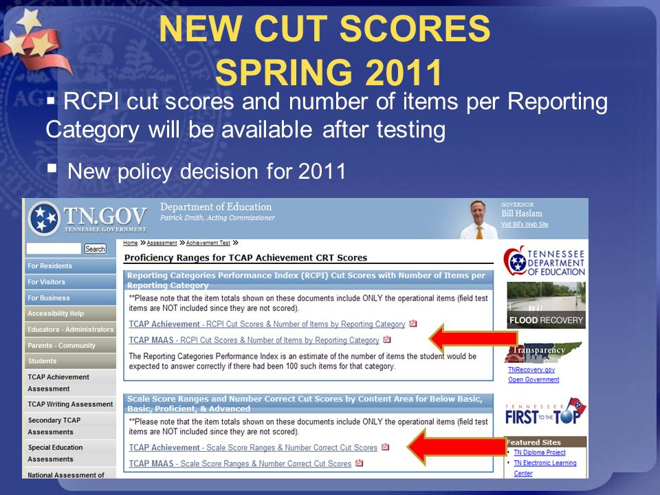 NEW CUT SCORES SPRING 2011 New policy decision for 2011