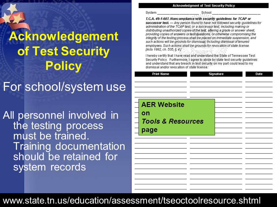 Acknowledgement of Test Security Policy