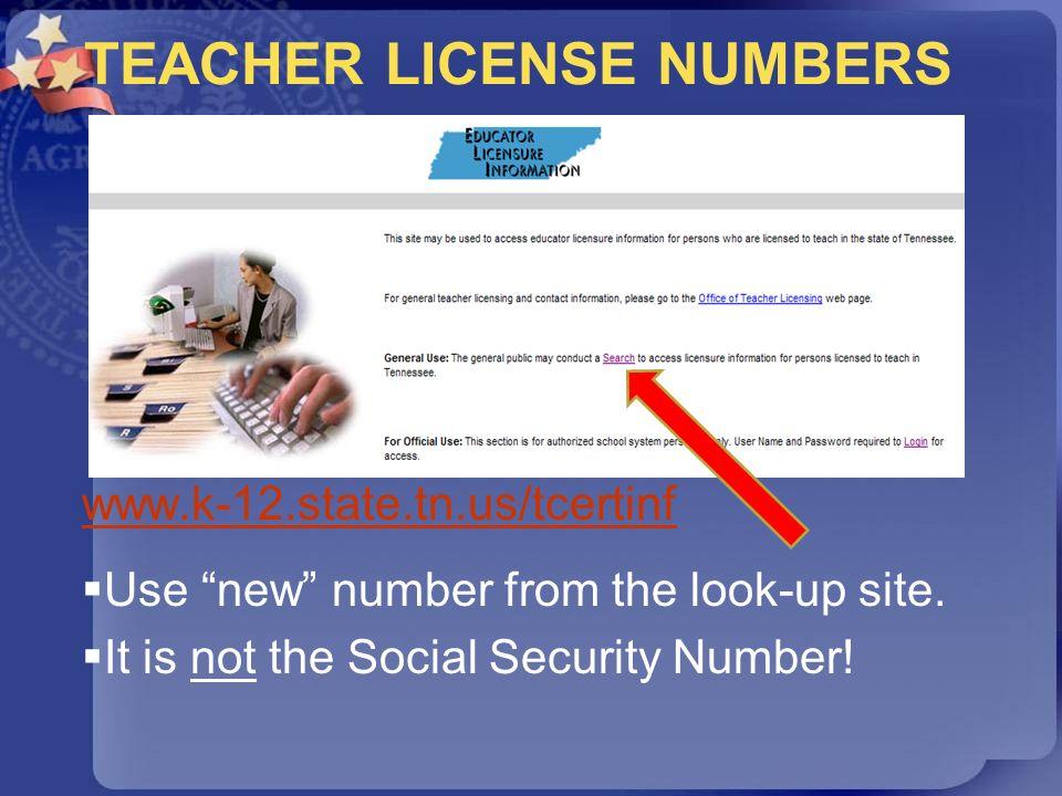 TEACHER LICENSE NUMBERS