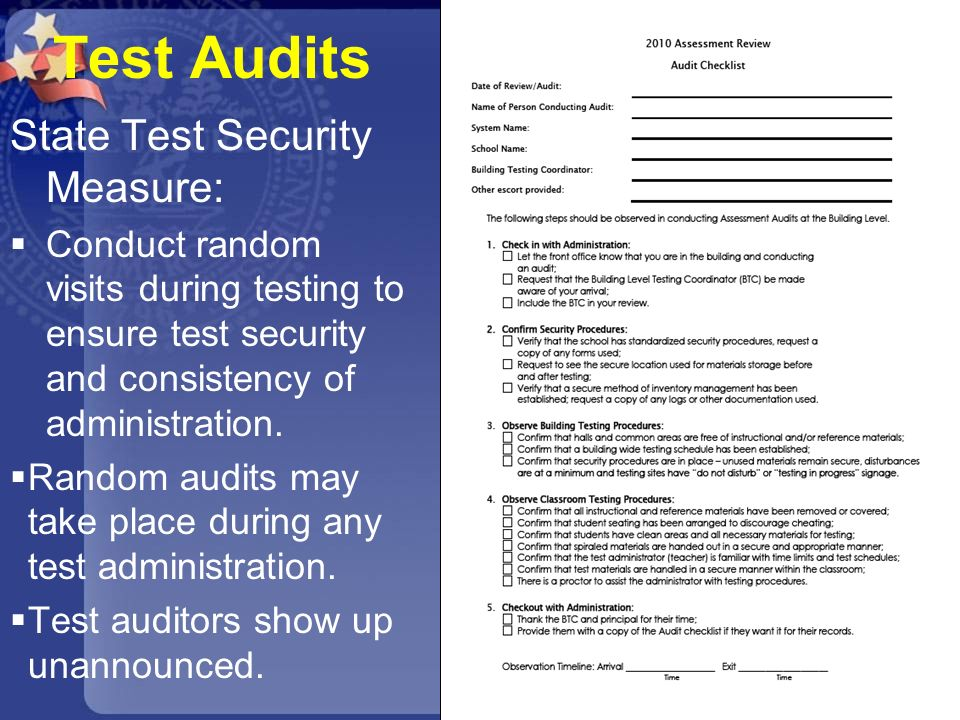 Test Audits State Test Security Measure: