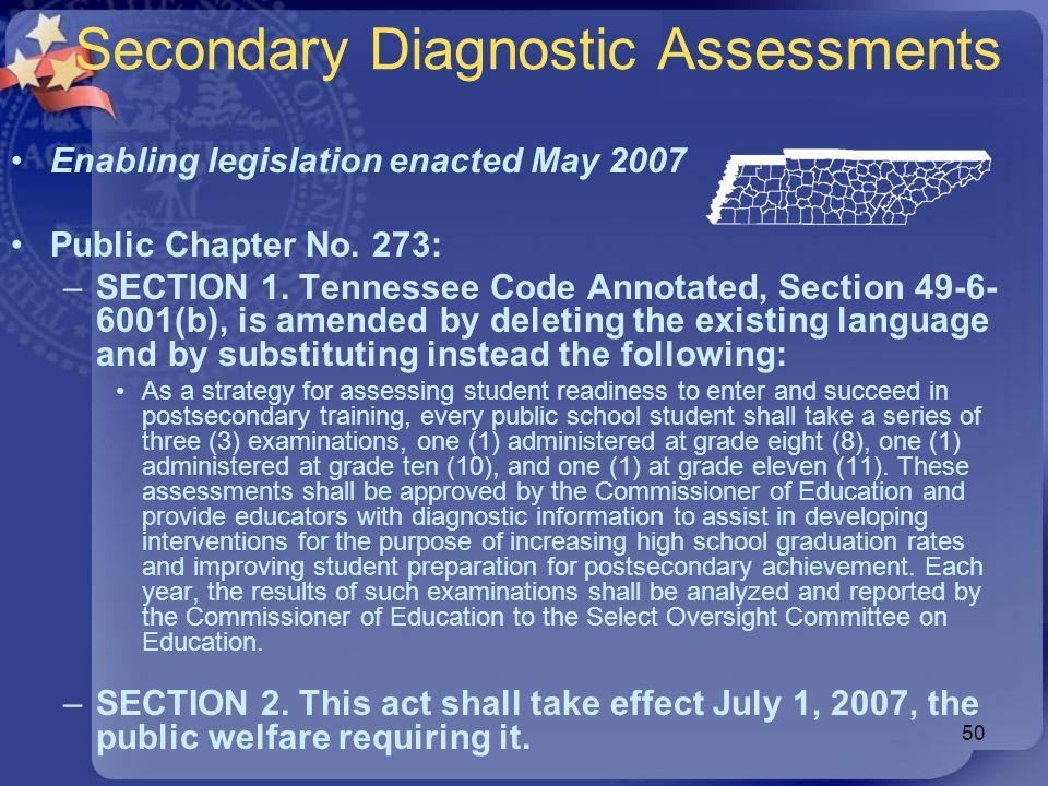 Secondary Diagnostic Assessments