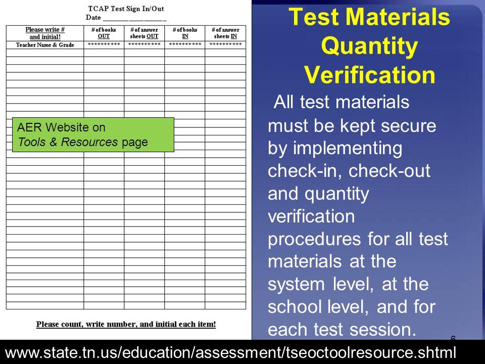 Test Materials Quantity Verification
