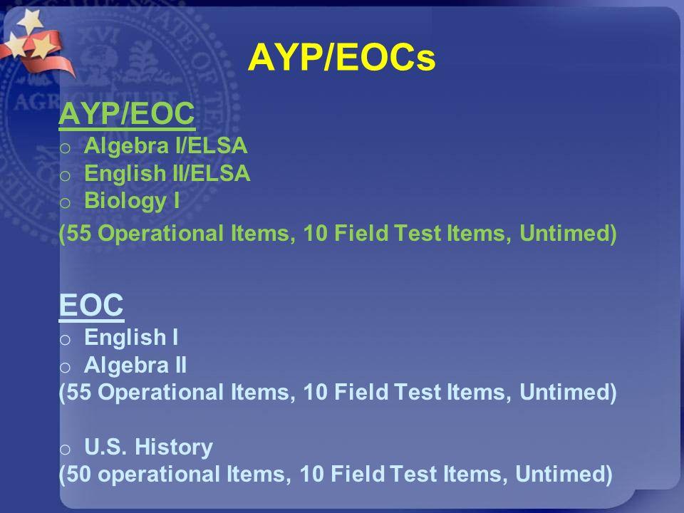 AYP/EOCs AYP/EOC EOC Algebra I/ELSA English II/ELSA Biology I