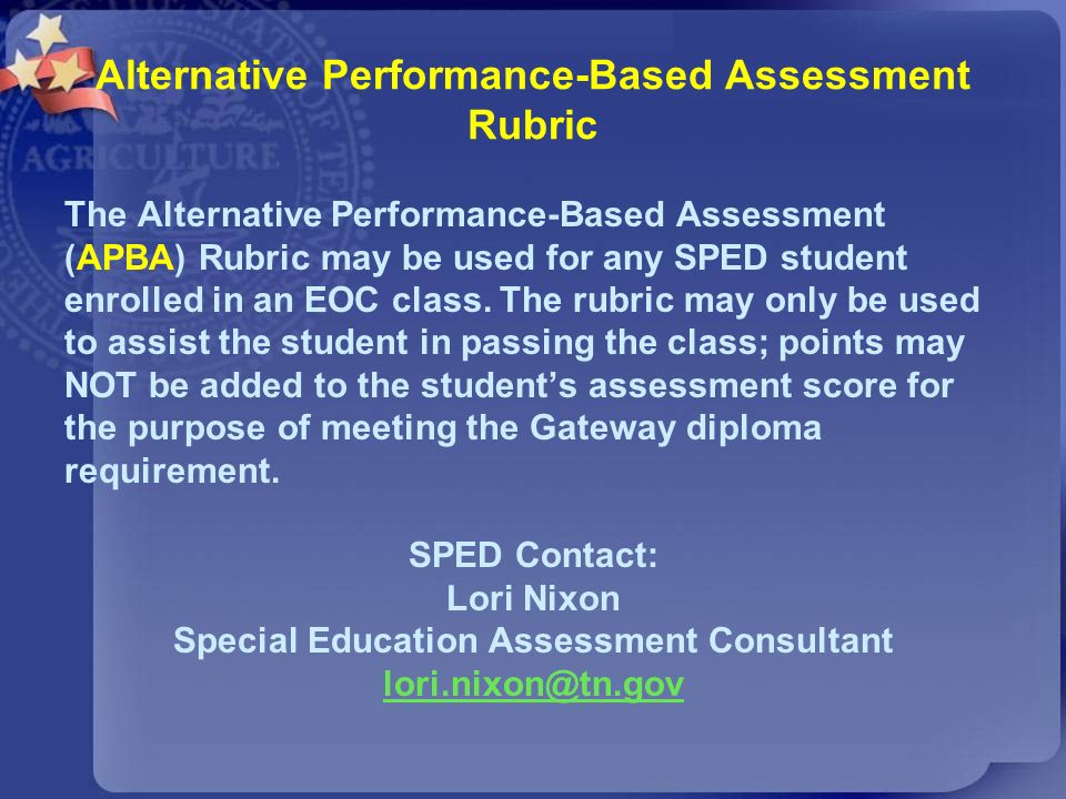 Alternative Performance-Based Assessment Rubric