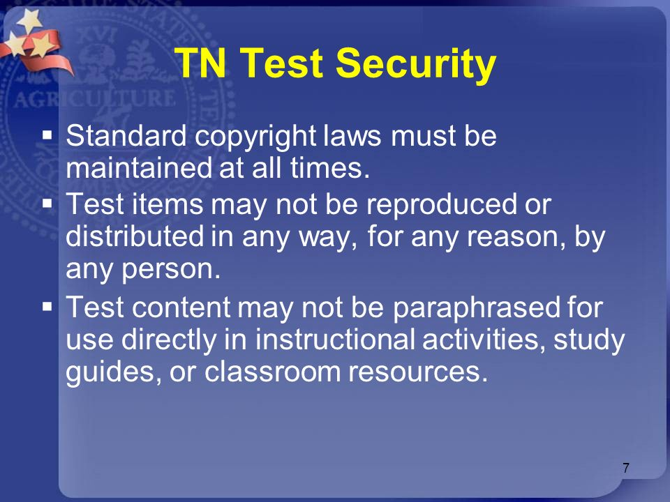 TN Test Security Standard copyright laws must be maintained at all times.