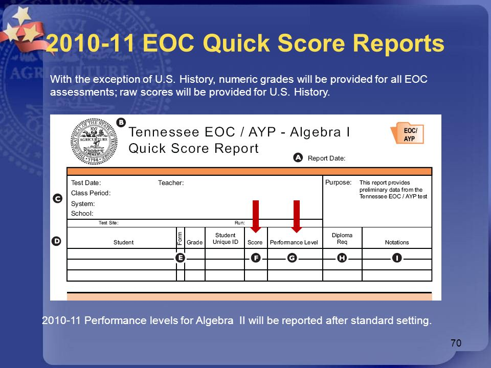 2010-11 EOC Quick Score Reports