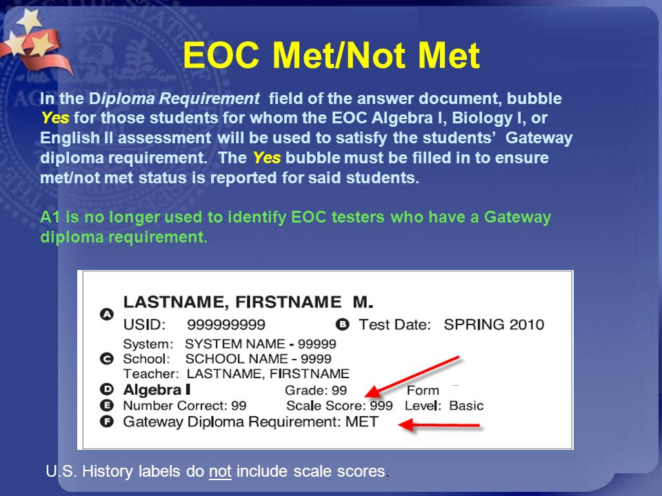 EOC Met/Not Met In the Diploma Requirement field of the answer document, bubble. Yes for those students for whom the EOC Algebra I, Biology I, or.